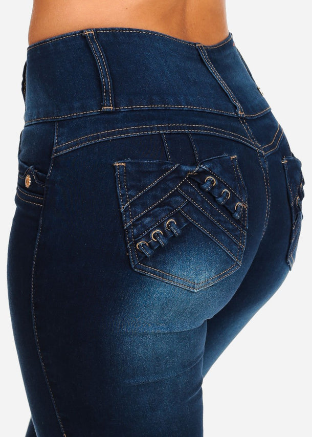 Butt Lifting Mid Rise 3 Button Med Wash Skinny Jeans With Back Lace Up Pocket Design
