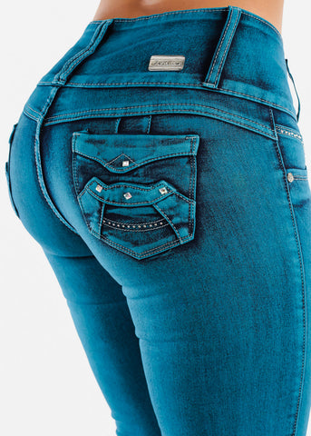 Image of High Rise Teal Butt Lifting Skinny Jeans
