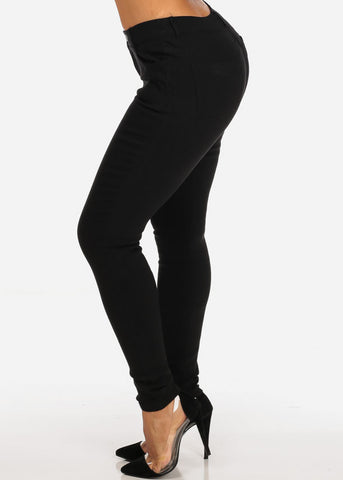 Image of Classic One Button Stretchy Going Out Night Out Sexy Basic Black Skinny Pants