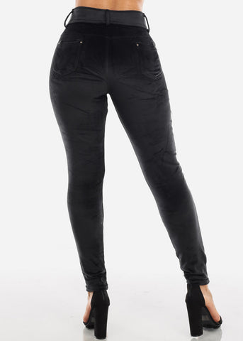 Image of Black Suede Skinny Pants