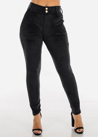 Black Suede Skinny Pants