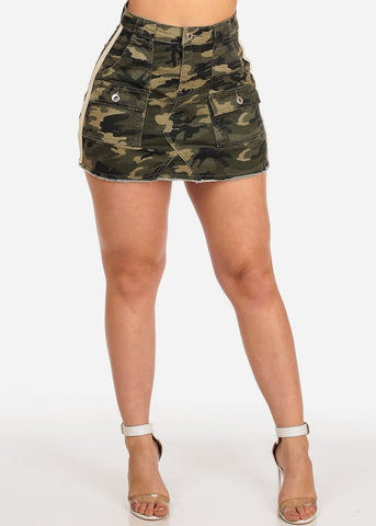 Image of Sexy Trendy Casual Summer Camouflage Print Summer Cargo Style Denim Mini Skirt
