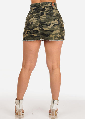 Sexy Trendy Casual Summer Camouflage Print Summer Cargo Style Denim Mini Skirt