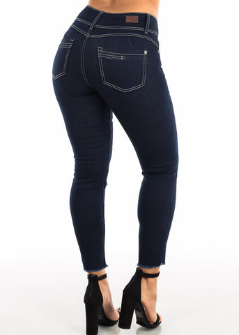 Image of Dark Blue Skinny Ankle Jeans