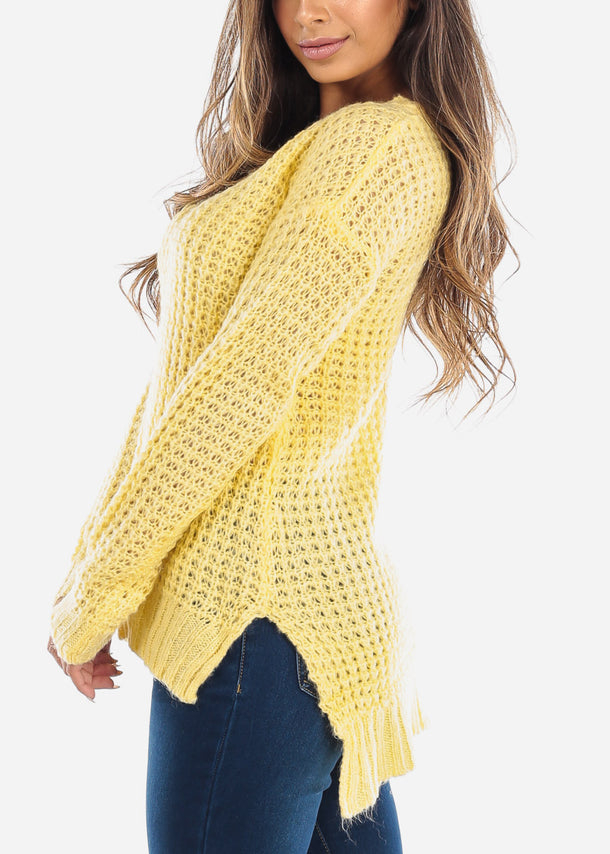 Yellow Crochet Knit Sweater