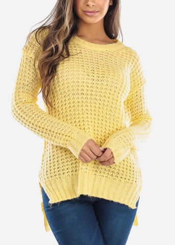 Image of Yellow Crochet Knit Sweater