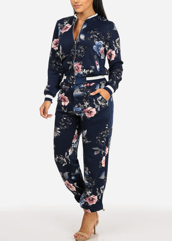 Image of Dark Blue Floral Jacket W Pockets