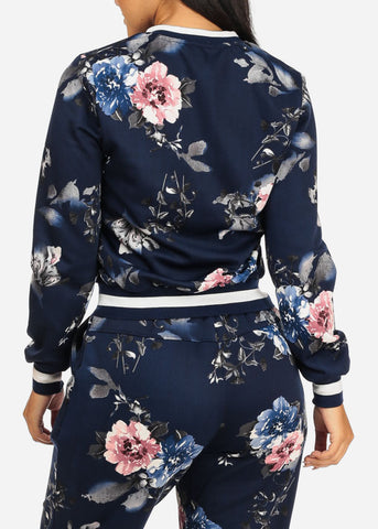 Dark Blue Floral Jacket W Pockets