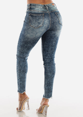 Image of Raw Hem Distressed Acid Wash Jeans