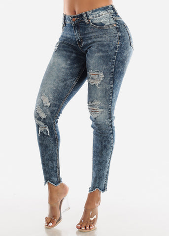 Raw Hem Distressed Acid Wash Jeans