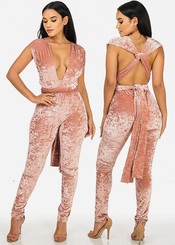 Image of L'ATISTE Multiway Rose Velvet Jumpsuit