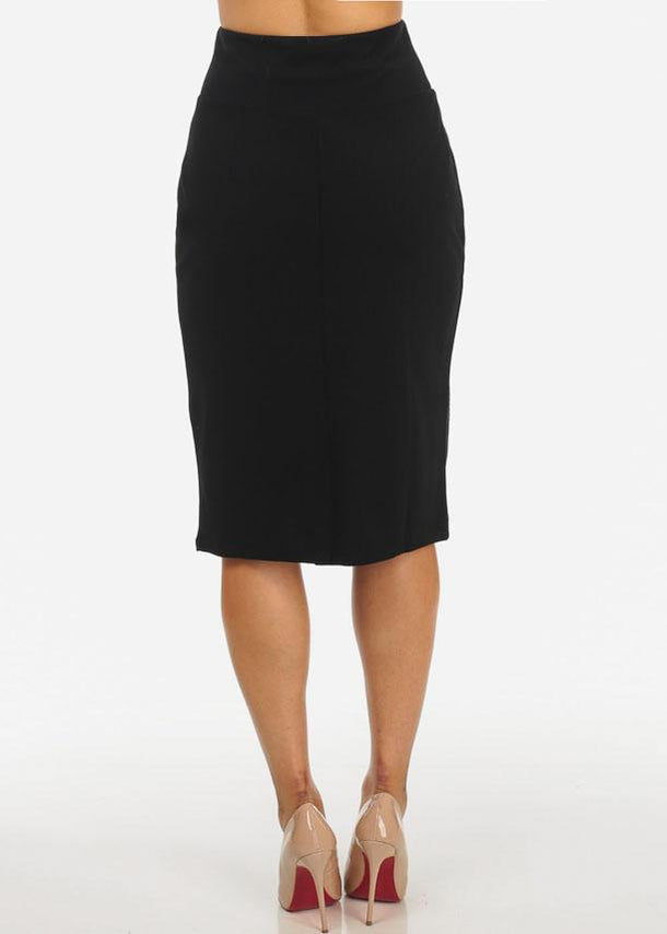 Gold Stud Black Midi Skirt