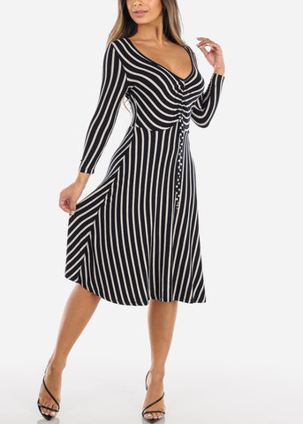 Image of Striped Navy A-Line Dress