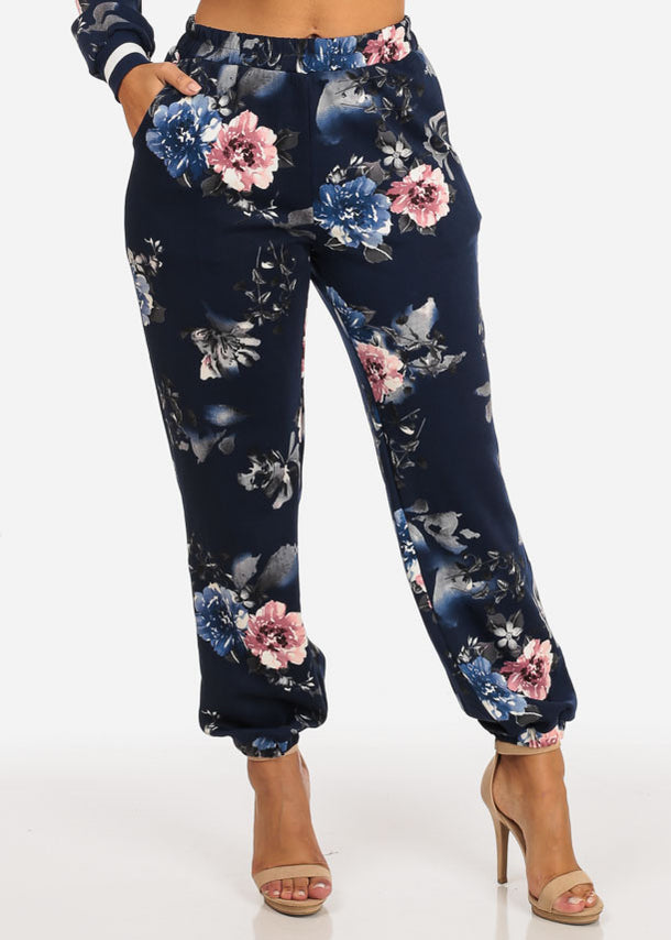 Pull On Floral Jogger Pants (Blue)