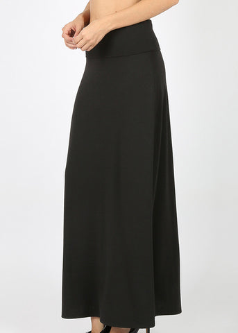 Image of Fold Over Relax Fit Black Maxi Skirt