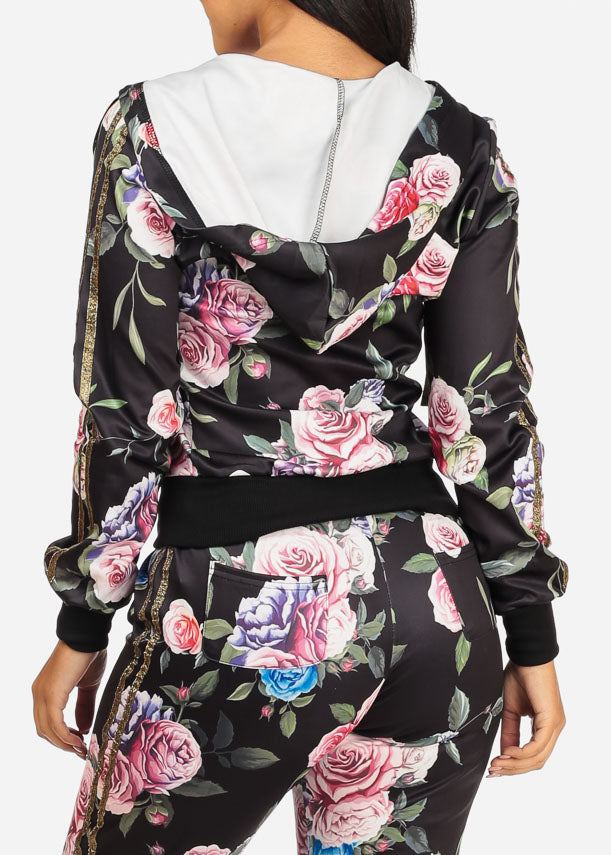 Floral Black Sweater W Hood