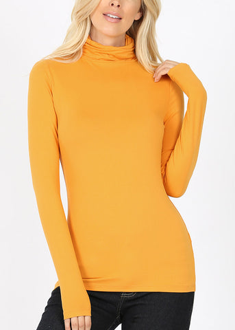 Mock Neck Mustard Top
