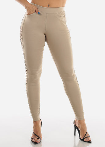 Criss Cross Cutout Beige Jeggings
