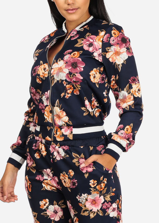 Cheap Navy Floral Jacket W Pockets