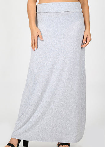Fold Over Relax Fit Grey Maxi Skirt