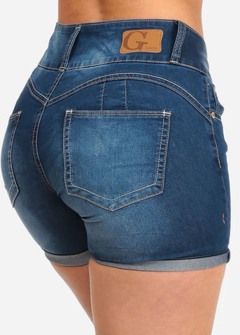 Image of Women's Junior Summer 3 Button Low Rise Dark Wash Booty Lifting Levanta Cola Denim Shorts