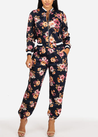 Pull On Floral Jogger Pants (Navy)