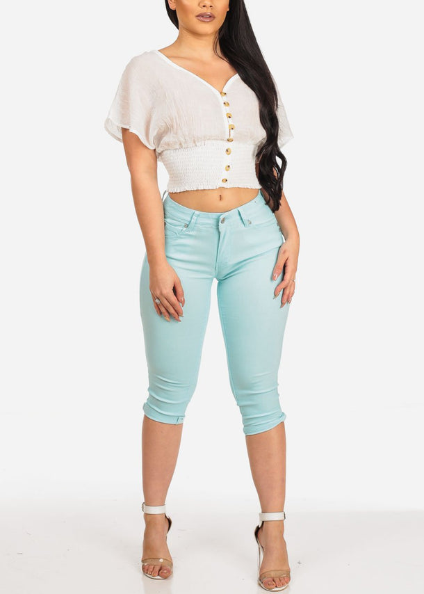 Butt Lifting Light Blue Capris
