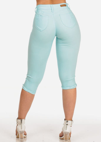 Women's Junior Summer Stretchy Solid Color Super Stretchy Trendy Low Rise Sky Blue Booty Lifting Levanta Cola Cuffed Uncuffed Capris