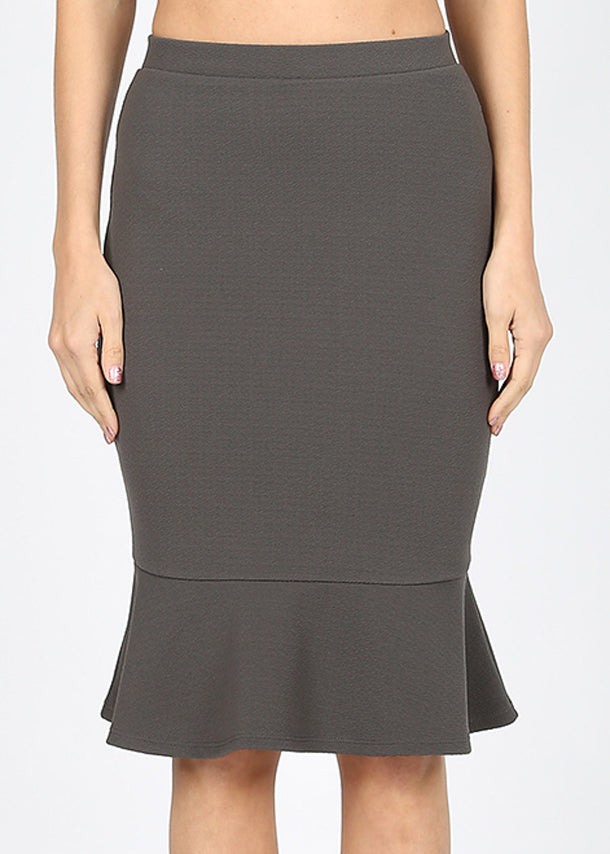 High Rise Peplum Hem Grey Skirt