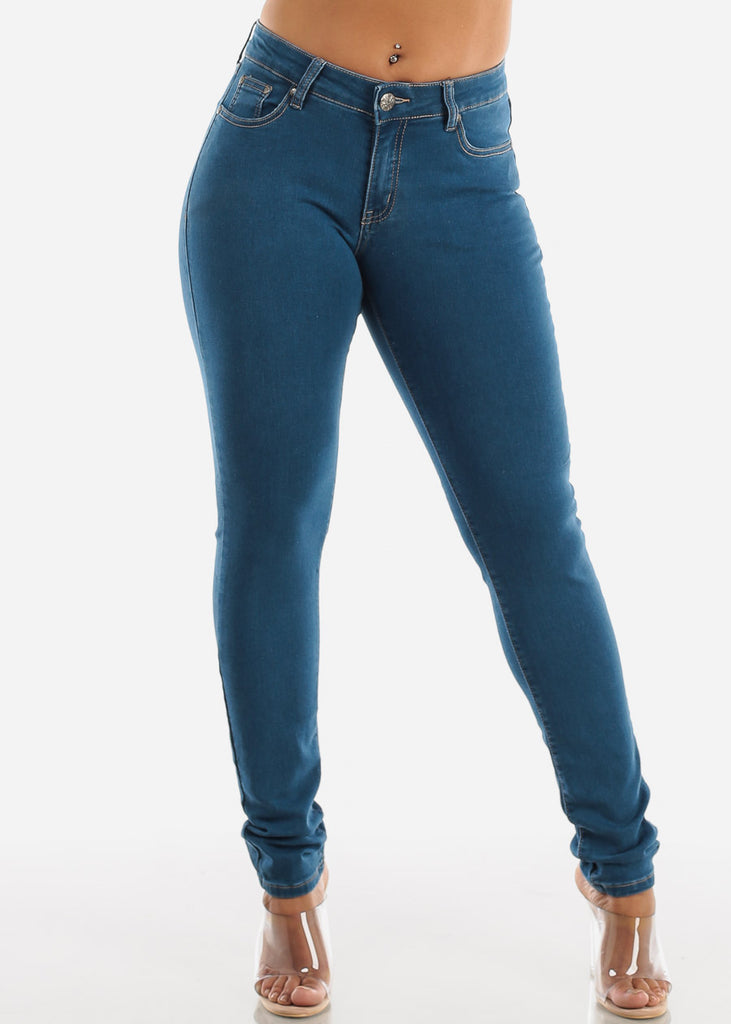 Classic 1 Button Med Wash Skinny Jeans