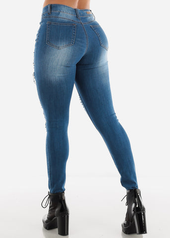 Torn High Waisted Med Wash Skinny Jeans