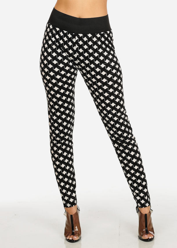 Black and White Printed Skinny Pants