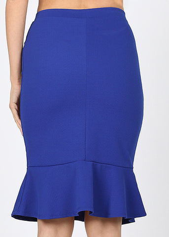 Image of High Rise Peplum Hem Royal Blue Skirt
