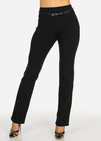 Image of Black Straight Leg Pants w/ Belt