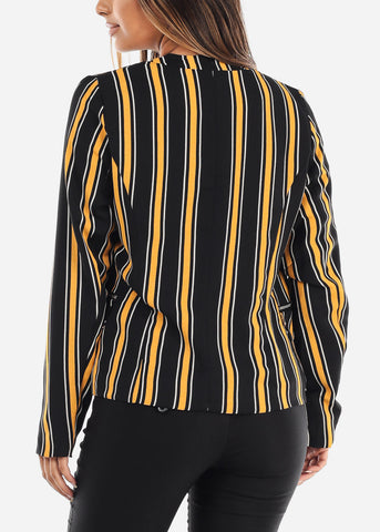 Image of Open Front Classic Mustard Stripe Blazer