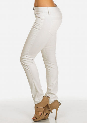 Image of White Faux Leather Front Pants