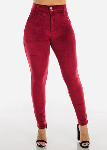 Image of Burgundy Suede Skinny Pants
