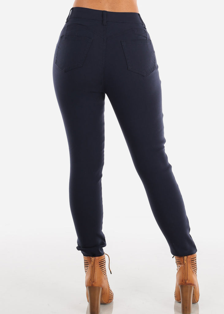 Butt Lifting Levanta Cola Ultra Stretchy High Waisted Navy Skinny Pants Jeggings For Women Ladies Junior On Sale