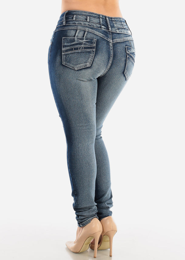 Plus Size Butt Lifting Torn Acid Skinny Jeans