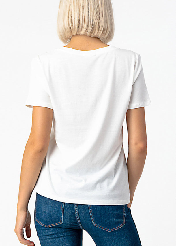Basic V Neck White Top
