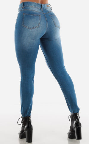 Image of Blue High Waisted Distressed Skinny Jeans