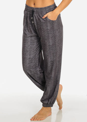 Image of Grey Drawstring Stretchy Pants