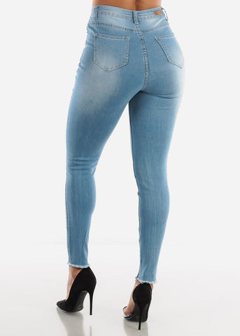 High Waisted Distressed Light Skinny Jeans