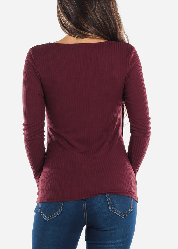 Red Wrap Front Long Sleeve Top