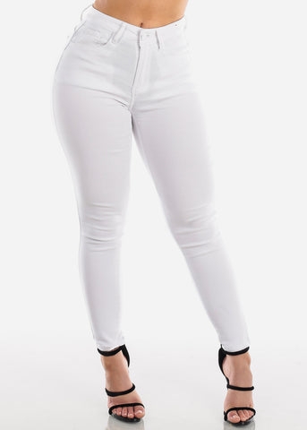 Butt Lifting Levanta Cola 1 Button Solid White High Waisted Super Stretchy Skinny Jeans For Women Ladies Junior