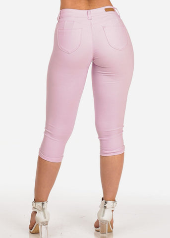 Women's Junior Summer Stretchy Solid Color Super Stretchy Trendy Low Rise Pink Booty Lifting Levanta Cola Cuffed Uncuffed Capris