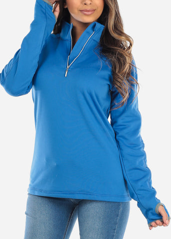 Image of Half Zip Royal Blue Pullover Sweater