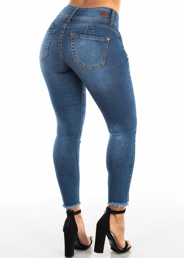 Blue Wash Butt Lifting Skinny Ankle Jeans