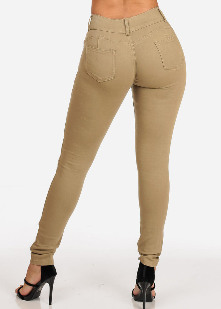 Women's Junior Ladies 2 Button Mid Rise Solid Khaki Super Stretchy Khaki Skinny Jeans