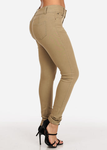Image of Women's Junior Ladies 2 Button Mid Rise Solid Khaki Super Stretchy Khaki Skinny Jeans